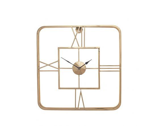 Tristo Gold Metal Square Wall Clock