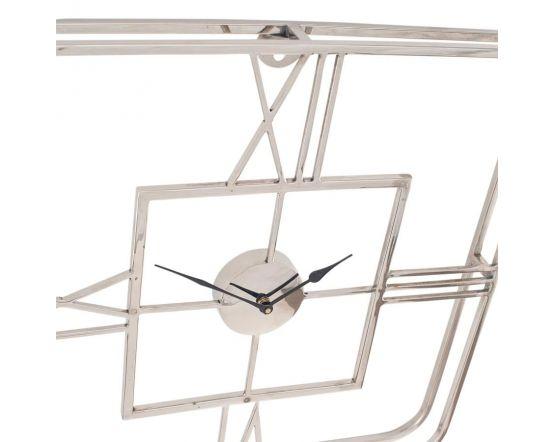 Tristo Silver Metal Square Wall Clock