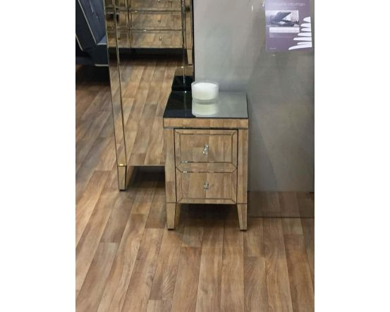 Turia Mirrored 2 Drawer Side Chest