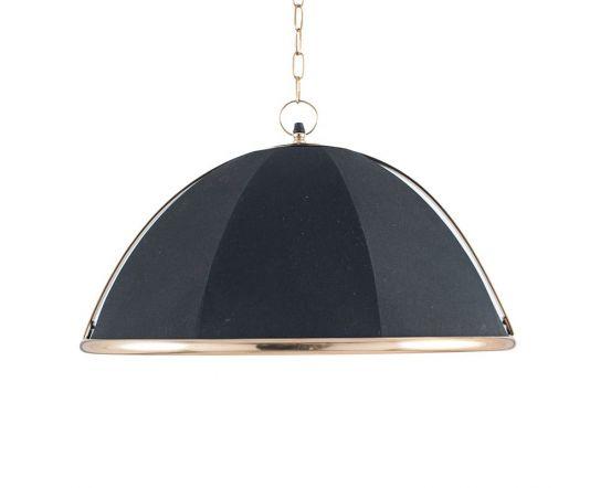 Umbrella Black Fabric and Gold Detail Metal Pendant