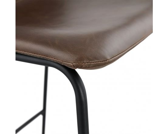 Velam Curve Brown Leather Effect Bar Chair