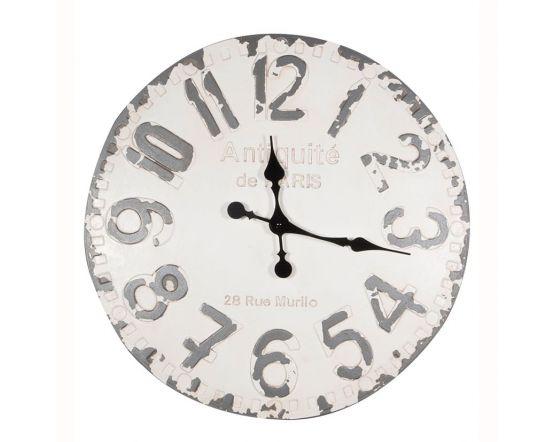 Vernon Antique White & Grey Round Wall Clock