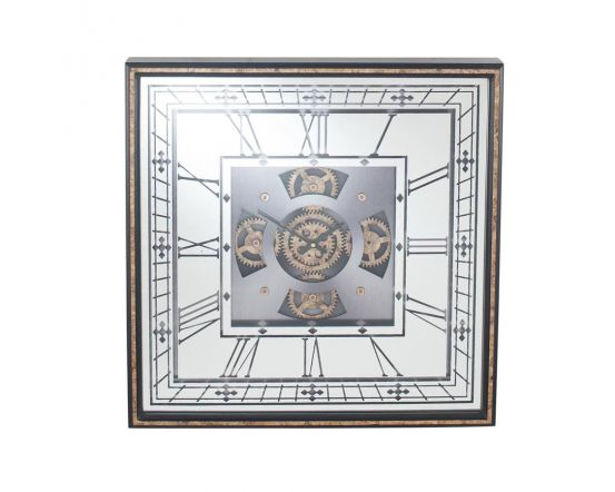 Vintage Gold Wood & Mirror Square Working Cog Wall Clock