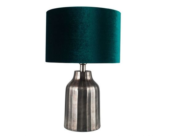 Vintage Silver Stripe Textured Metal Table Lamp - Base Only