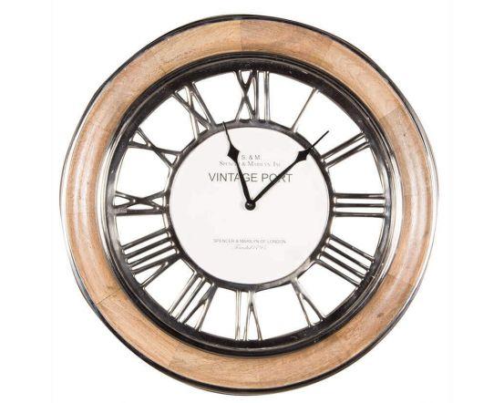 Vintage Port Mango Wood and Nickel Wall Clock