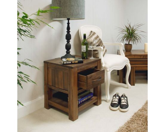 Walnut One Drawer Lamp Table