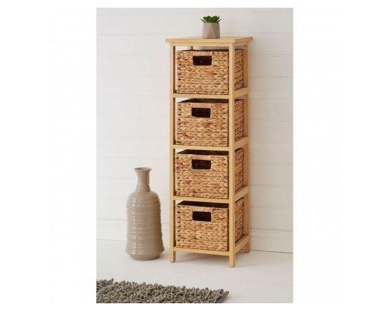 Water Hyacinth 4 Basket Storage Unit