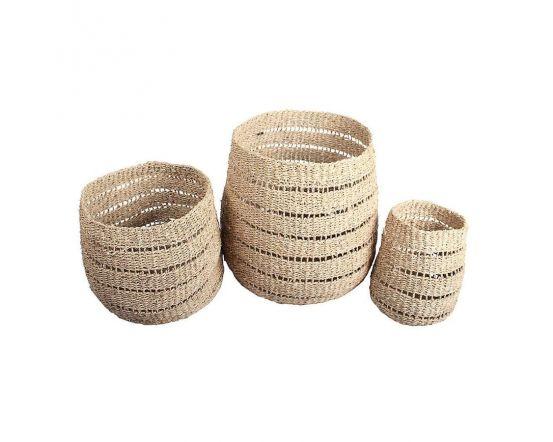 Water Hyacinth Set of 3 Round Stripe Detail Baskets