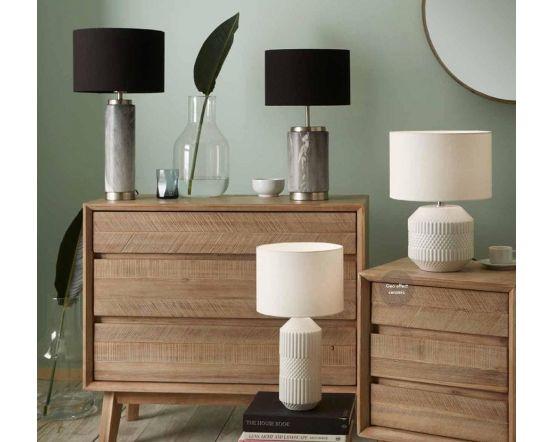 White Embossed Geometric Ceramic Table Lamp