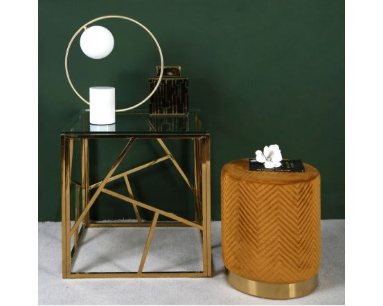 White Marble and Gold Metal Table Lamp With White Glass Shade