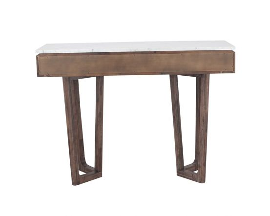 White Marble & Brown Acacia Wood Console Table
