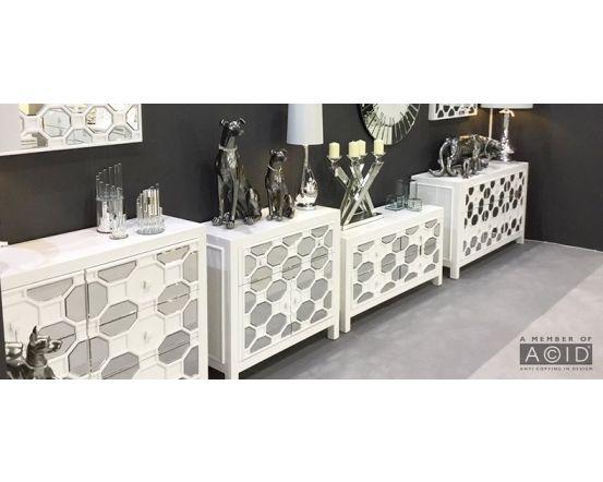 White Geometric Mirrored Coffee Table