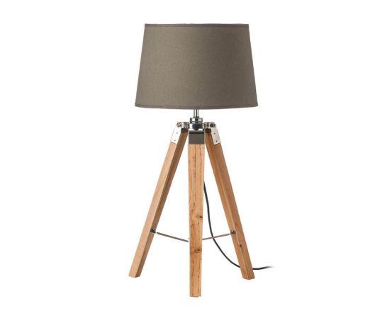 Natural Tripod Table Lamp With Grey Shade