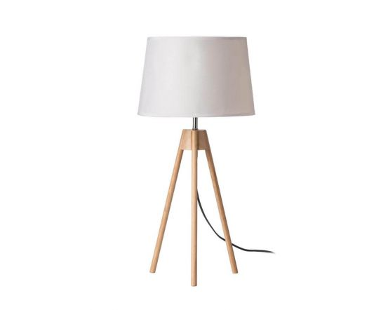 Natural Tripod Table Lamp - White Linen Shade