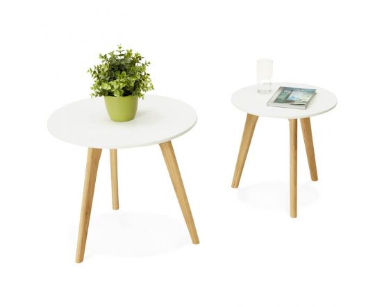Malena Set Of 2 Solid Oak And White Tables