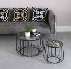 Gold Patterned Top Set Of 2 Nesting Tables