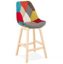 Nicklas Patchwork and Natural Wood Bar Chair