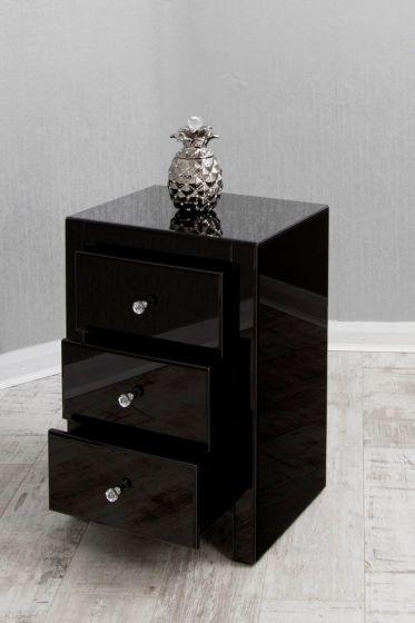 3 Drawer Black Mirrored Bedside