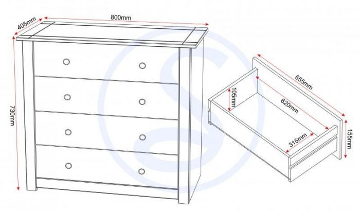 Albeto Wax 4 Drawer Chest