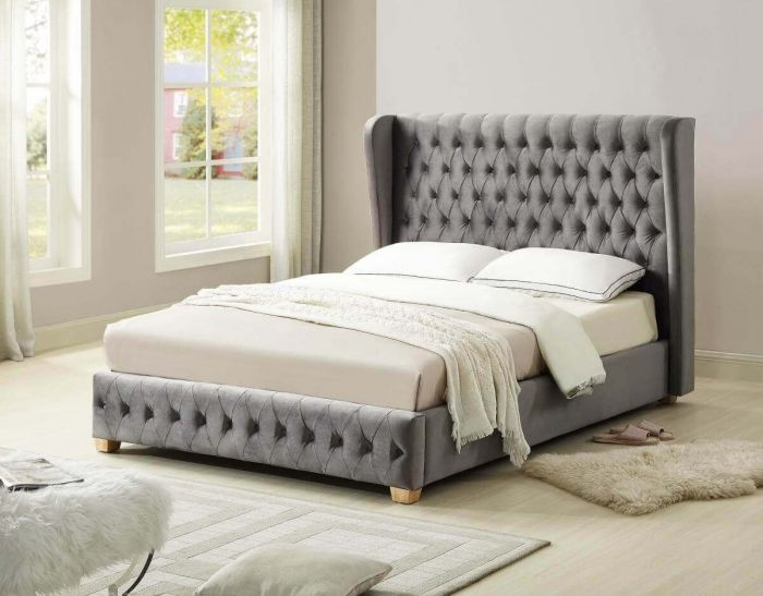 Alma Grey Velvet Bed Frame
