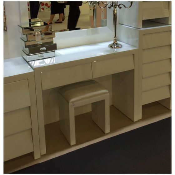 Alyeska White Glass 2 Drawer Dressing Table Without Stool