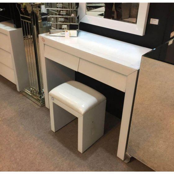 Alyeska White Glass 2 Drawer Dressing Table Set