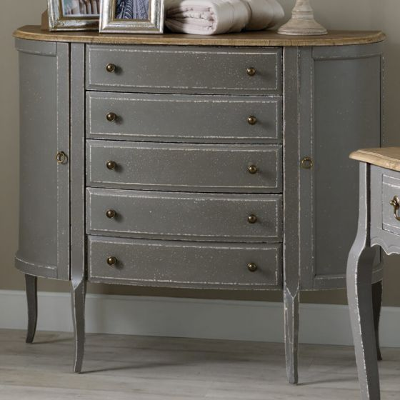 Annecy French Grey Half Moon Console Table