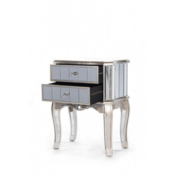 Antonia Shabby Silver Mirrored Bedside Table