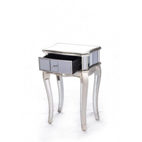 Antonia Shabby Silver Mirrored Side Table
