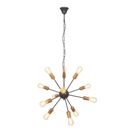 Aquila Black Brass 12 Light Pendant