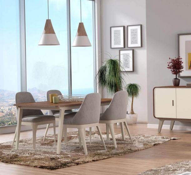 Arcus Walnut and Warm Tea Dining Table