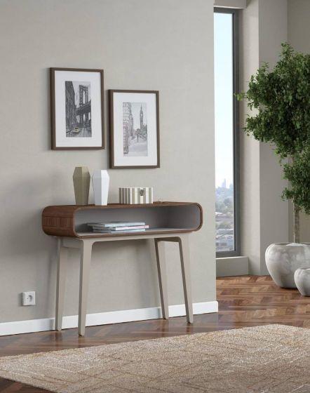 Arcus Walnut and Warm Tea Console Tables