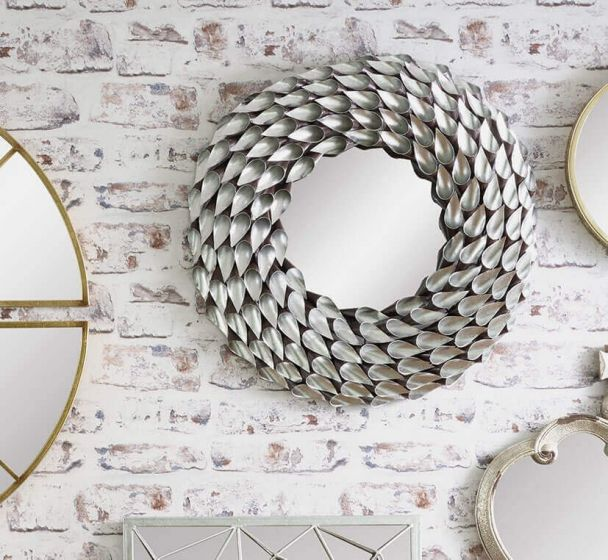 Art Deco Silver Metal Wall Mirror