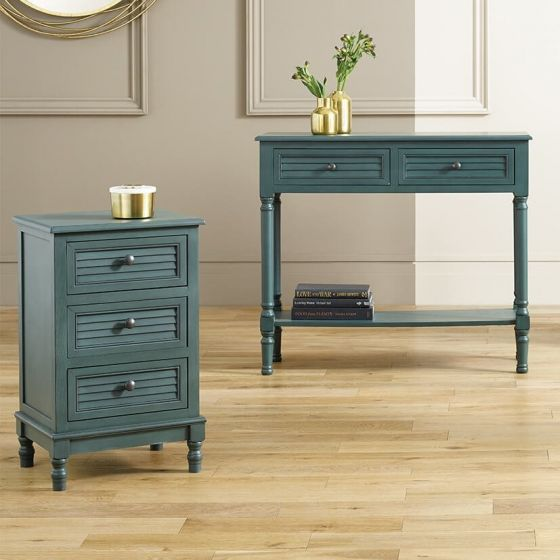 Ashwell Teal Pine 3 Drawer Chest