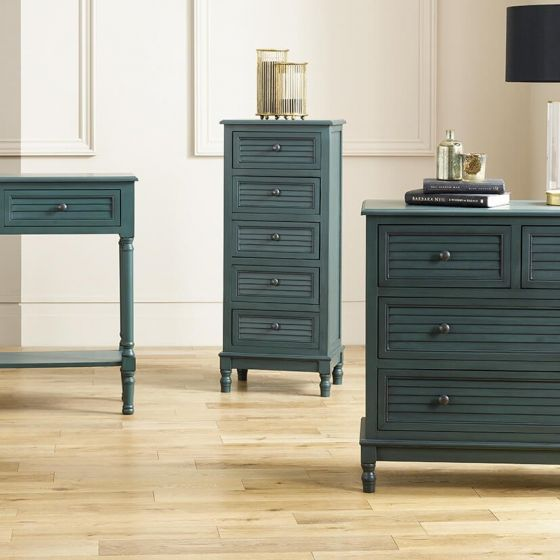 Ashwell Teal Pine 5 Drawer Tallboy