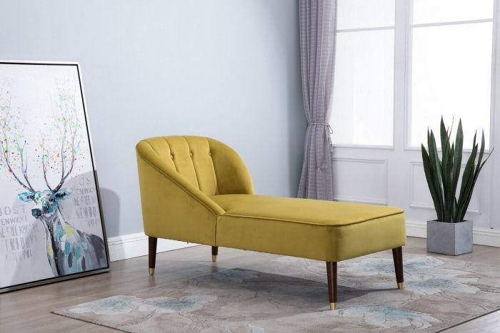 Aurelia Chaise Longue in Green, Grey or Mustard