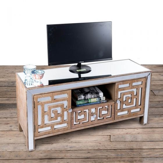 Azur Mirrored Fretted TV Media Unit
