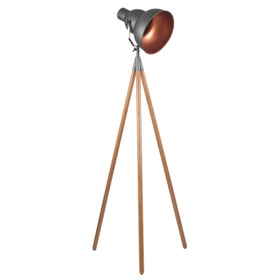 Bamboo & Grey Metal Tripod Film Floor Lamp