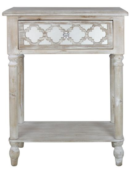 Beach Walk Mirrored 1 Drawer Side Table