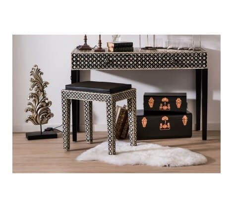 Black Set of 2 Storage Trunks with Copper Detail