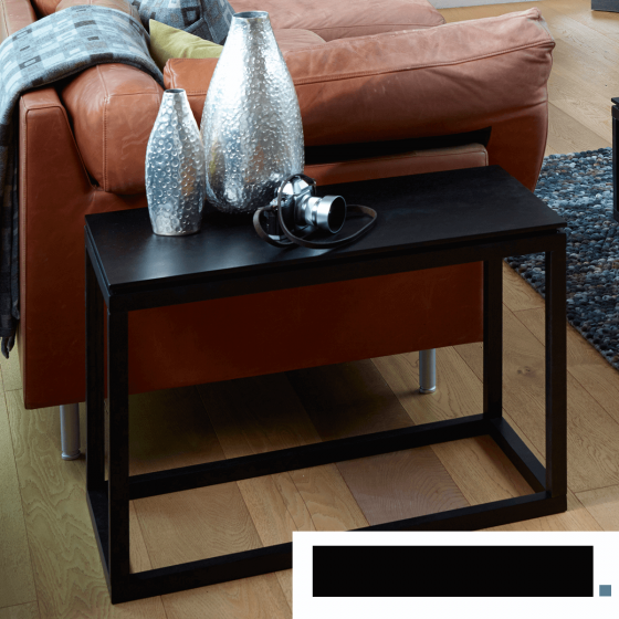 Black Stained Retro Large Side Table