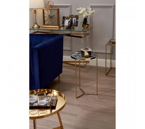 Blue Agate and Gold Side Table
