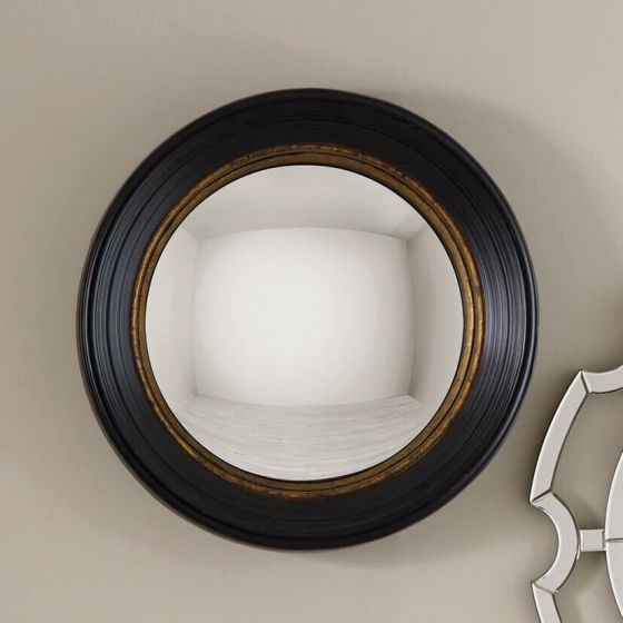 Black and Gold Convex Wall Mirror