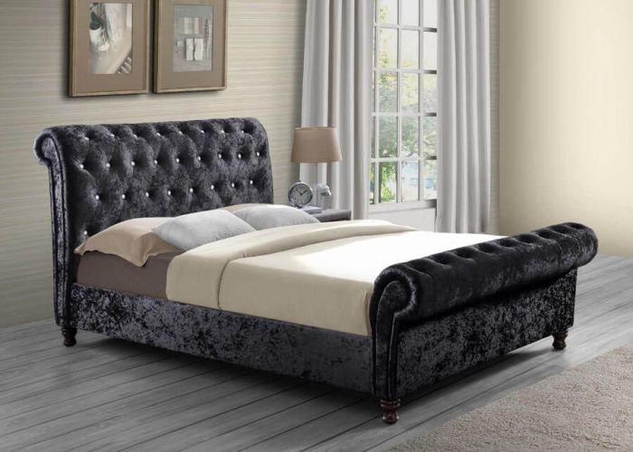 Chartrons Black Fabric Double King & Queen Bed Frames