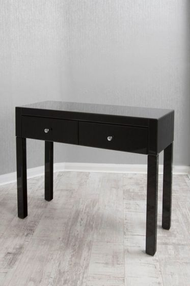 Black Mirrored Table with Two Drawers