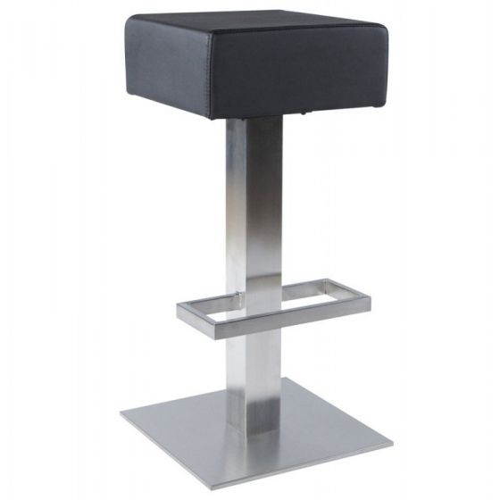 Square Padded Swivel Stool - Black
