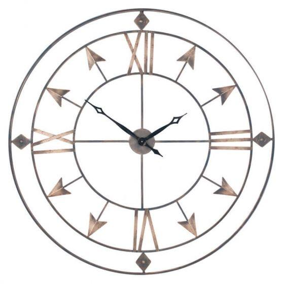 Breezehill Grey and Gold Metal Wall Clock