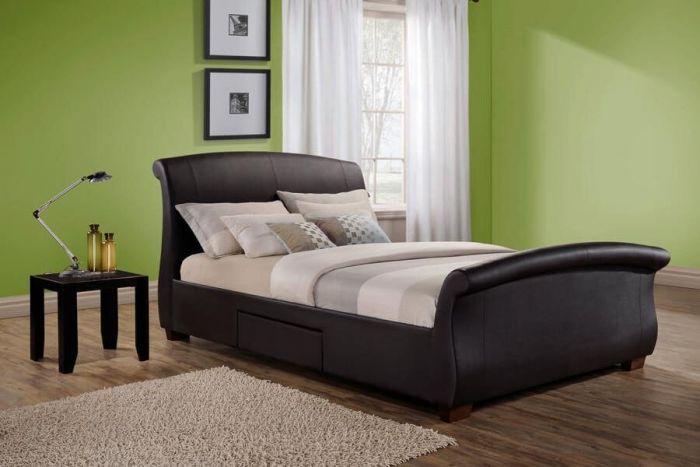 Sants Brown Leather Effect Bed Frames