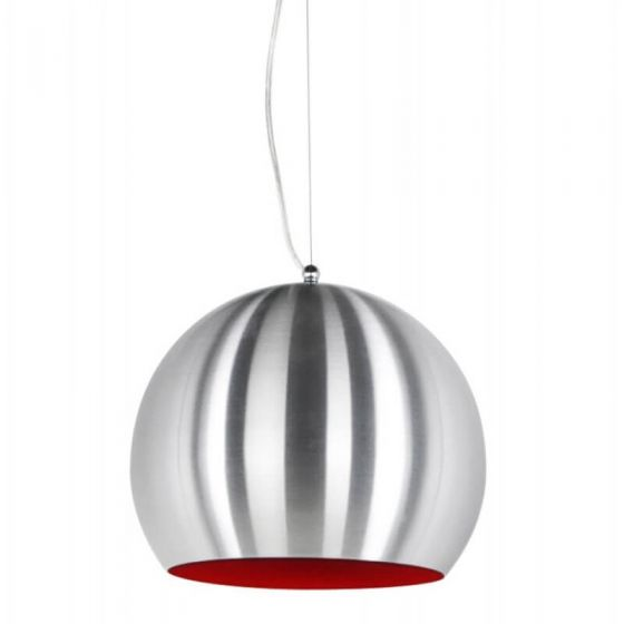 Brushed Steel and Red Dome Spotlight Ceiling Light