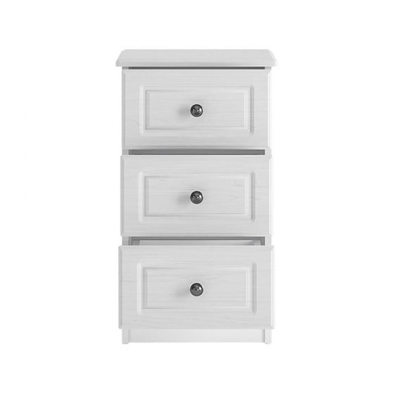 Cheshire White 3 Drawer Bedside Cabinet